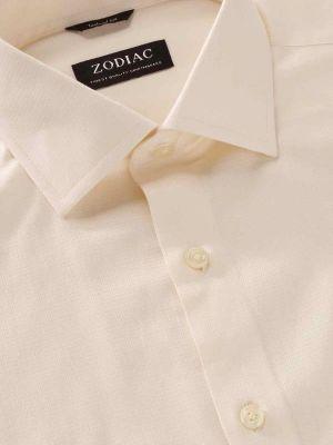 Cascia Cream Cotton Tailored Fit Formal Solids Shirt