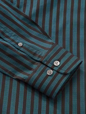 Chianti Teal Cotton Tailored Fit Evening Stripes Shirt