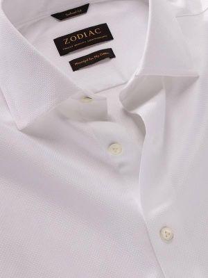 Cione White Cotton Tailored Fit Formal Checks Shirt