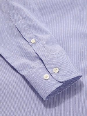 Cricoli Blue Cotton Tailored Fit Formal Striped Shirt