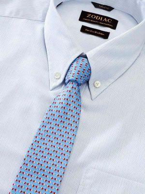 Cricoli White Cotton Classic Fit Formal Striped Shirt