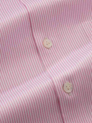 Da Vinci Pink Cotton Tailored Fit Formal Stripes Shirt