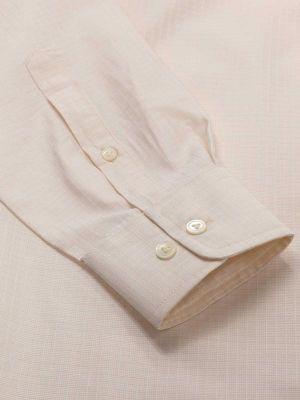 Da Vinci Cream Cotton Tailored Fit Formal Solids Shirt