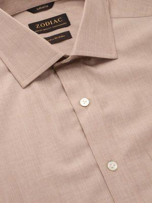Fil A Fil Pastel Tailored Fit Sand Shirt