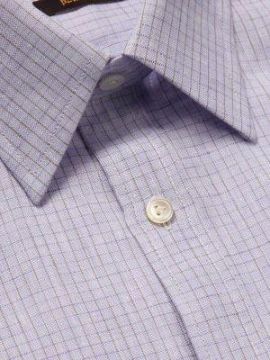 Positano Lilac Linen Classic Fit Casual Checks Shirt