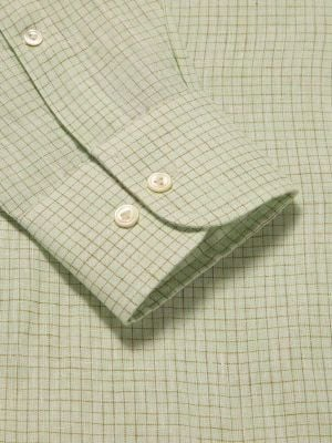 Positano Green Linen Tailored Fit Casual Checks Shirt
