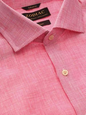 Positano Pink Linen Tailored Fit Casual Checks Shirt