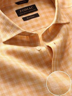 Positano Linen Tailored Fit Short Sleeves Ochre Shirt