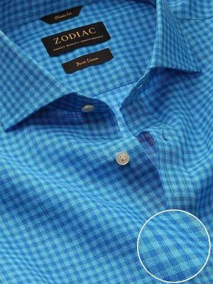Positano Turquoise Linen Classic Fit Casual Checks Shirt