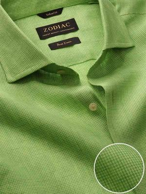 Positano Lime Linen Tailored Fit Casual Checks Shirt