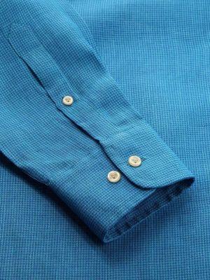 Positano Linen Tailored Fit Turquoise Shirt