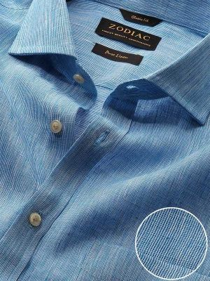 Fil A Fil Turquoise Linen Classic Fit Casual Solid Shirt