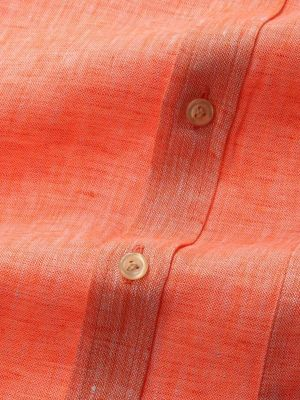 Positano Orange Linen Classic Fit Casual Solids Shirt