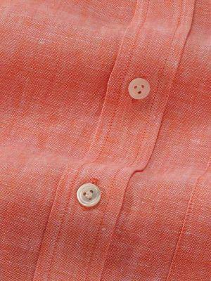 Positano Linen Classic Fit Short Sleeves Orange Shirt