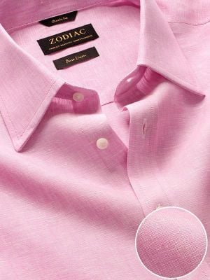 Positano Pink Linen Classic Fit Casual Solids Shirt