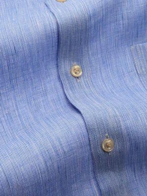 Fil A Fil Linen Tailored Fit Blue Shirt