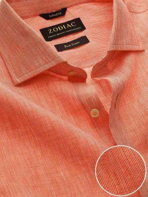 Fil A Fil Orange Linen Tailored Fit Casual Solids Shirt