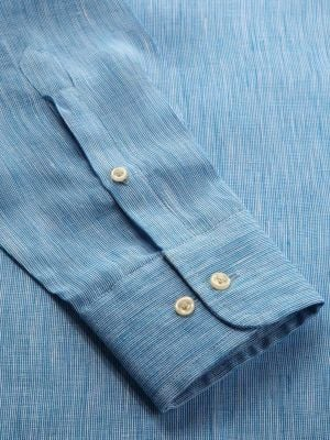 Fil A Fil Turquoise Linen Tailored Fit Casual Solids Shirt