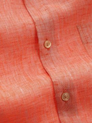 Positano Orange Linen Tailored Fit Casual Solid Shirt