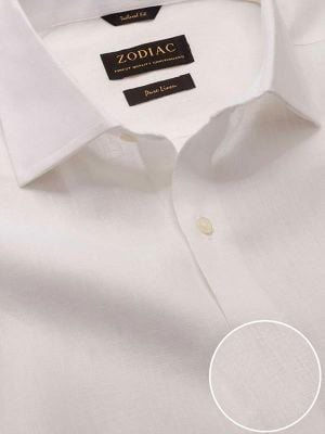 Positano White Linen Tailored Fit Casual Solids Shirt