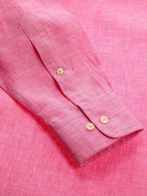 Fil A Fil Pink Linen Classic Fit Casual Solids Shirt