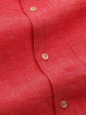 Fil A Fil Linen Tailored Fit Red Shirt