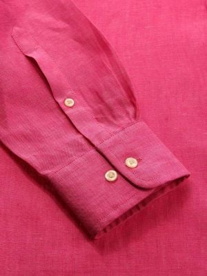 Positano Pink Linen Tailored Fit Casual Solids Shirt