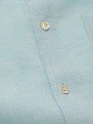 Positano Linen Tailored Fit Short Sleeves Aqua Shirt