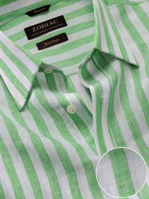 Positano Green Linen Classic Fit Casual Stripes Shirt