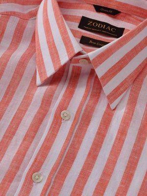 Positano Orange Linen Classic Fit Casual Stripes Shirt
