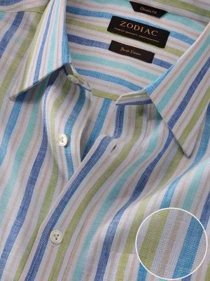 Positano Linen Classic Fit Blue Shirt