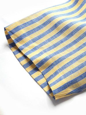Positano Yellow Linen Classic Fit Casual Stripes Shirt