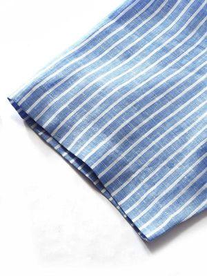 Positano Linen Tailored Fit Short Sleeves Blue Shirt