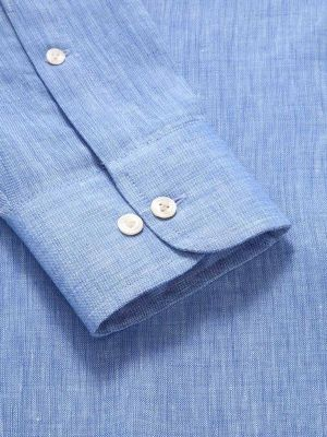 Positano Blue Linen Classic Fit Casual Solid Shirt