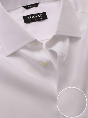 Luxury White Cotton Tailored Fit Formal Solids Shirt