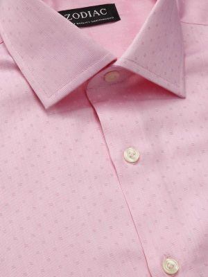 Marchetti Pink Cotton Tailored Fit Formal Solids Shirt
