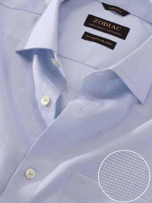 Ponte Sky Cotton Tailored Fit Formal Checks Shirt