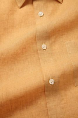 Praiano Ochre Linen Tailored Fit Casual Solid Shirt