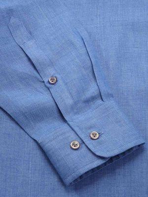 Praiano Blue Linen Classic Fit Evening Solids Shirt