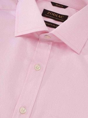 Tramonti Pink Cotton Classic Fit Formal Solid Shirt