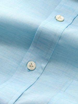 Venete Turquoise Cotton Classic Fit Formal Melange Solids Shirt