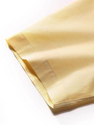 Venete Yellow Cotton Classic Fit Formal Melange Solids Shirt