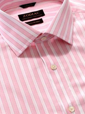 Venete Pink Cotton Classic Fit Formal Stripes Melange Shirt