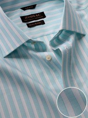 Venete Turquoise Cotton Classic Fit Formal Stripes Melange Shirt