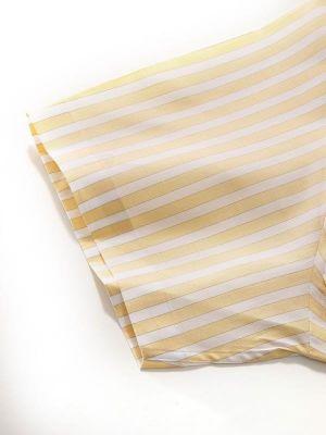 Venete Yellow Cotton Classic Fit Formal Stripes Melange Shirt