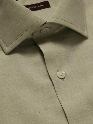 Venete Mint Cotton Tailored Fit Formal Melange Solids Shirt