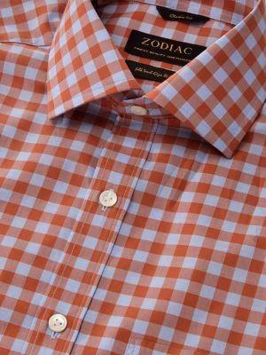 Vivace Rust Cotton Classic Fit Formal Checks Shirt