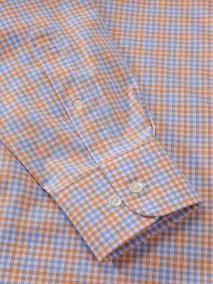 Vivace Orange Cotton Classic Fit Formal Checks Shirt