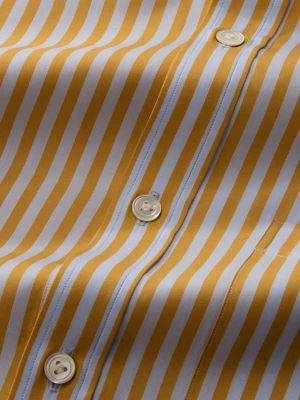 Vivace Yellow Cotton Classic Fit Formal Stripes Shirt