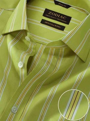 Vivace Lime Cotton Classic Fit Formal Striped Shirt